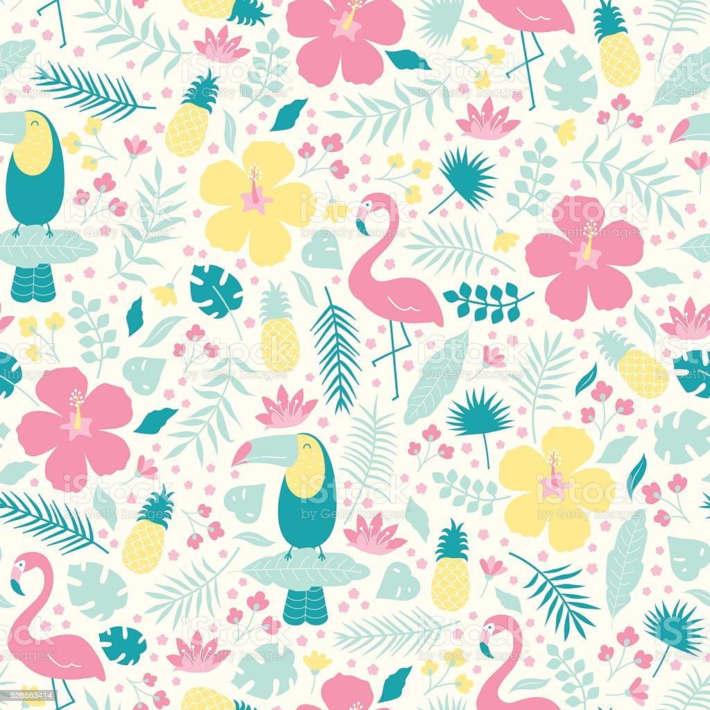 Vector seamless tropical pattern vector art illustration