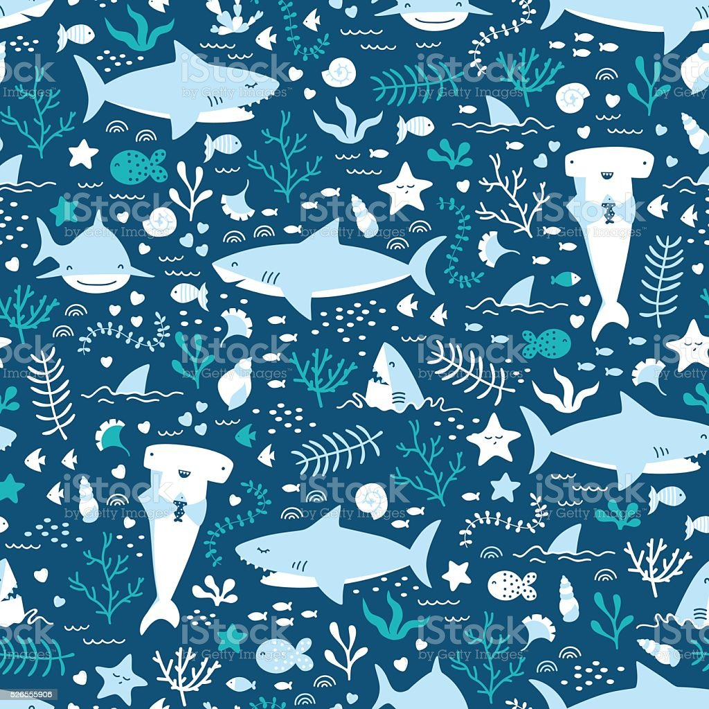 Vector seamless underwater pattern with cute sharks vector art illustration