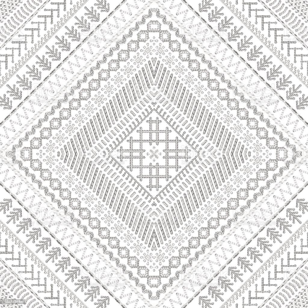 Vector seamless white tribal embroidery pattern. vector art illustration