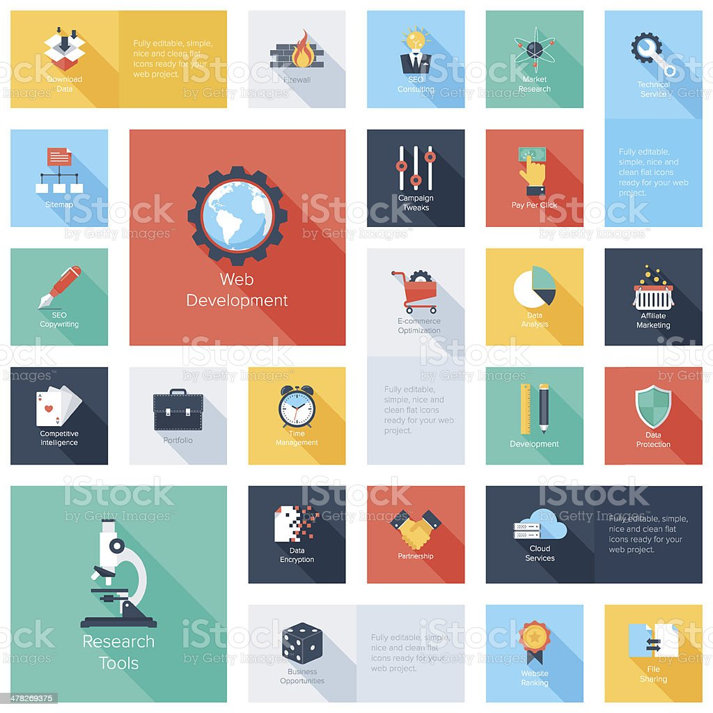 Vector search engine optimization icon set vector art illustration