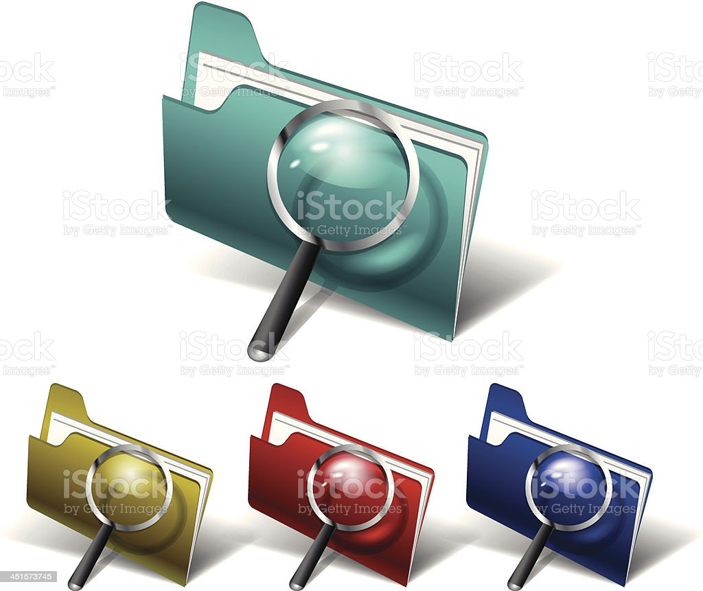 Vector search folder icons royalty-free stock vector art