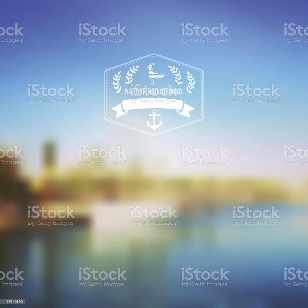 Vector seaside landscape with hipster badge. Outdoor. Barcelona vector art illustration