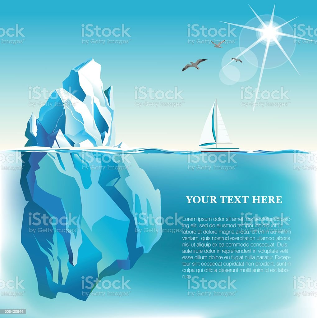 Vector seaside view poster with Iceberg  and yacht vector art illustration