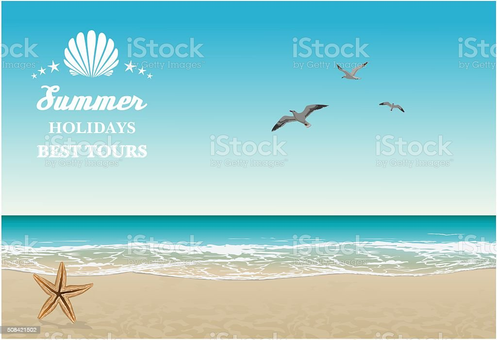 Vector seaside view poster with tropical beach, sea-gulls and lettering vector art illustration
