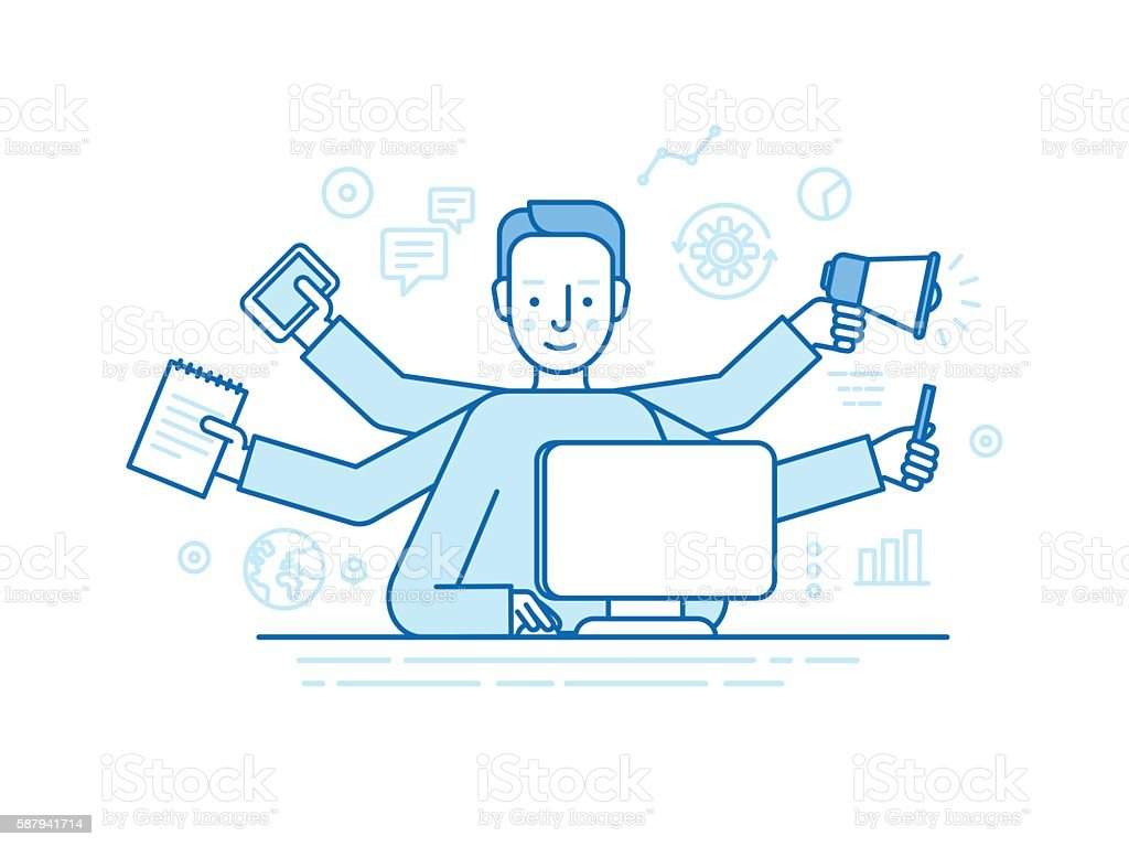 Vector self employment concept vector art illustration