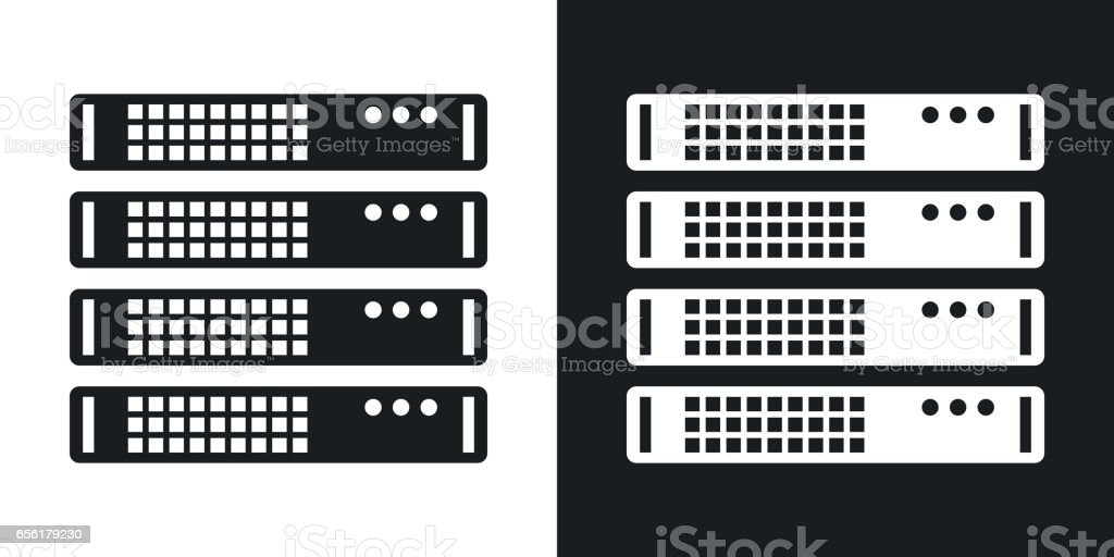 Vector server rack icon. Two-tone version vector art illustration