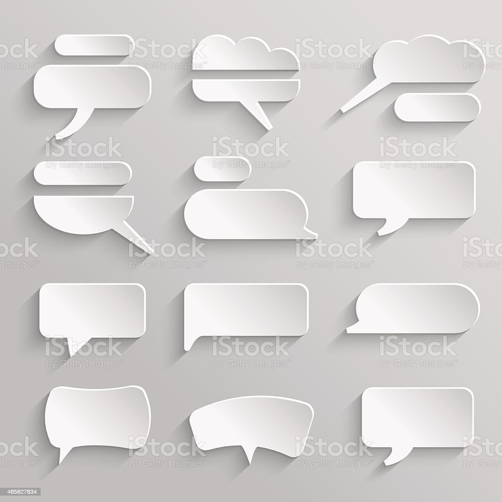 Vector set 4 of paper speech bubbles with shadows vector art illustration