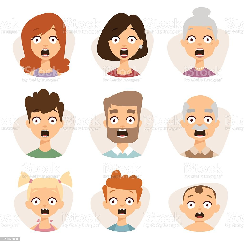 Vector set beautiful emoticons face of people character fear avatars vector art illustration