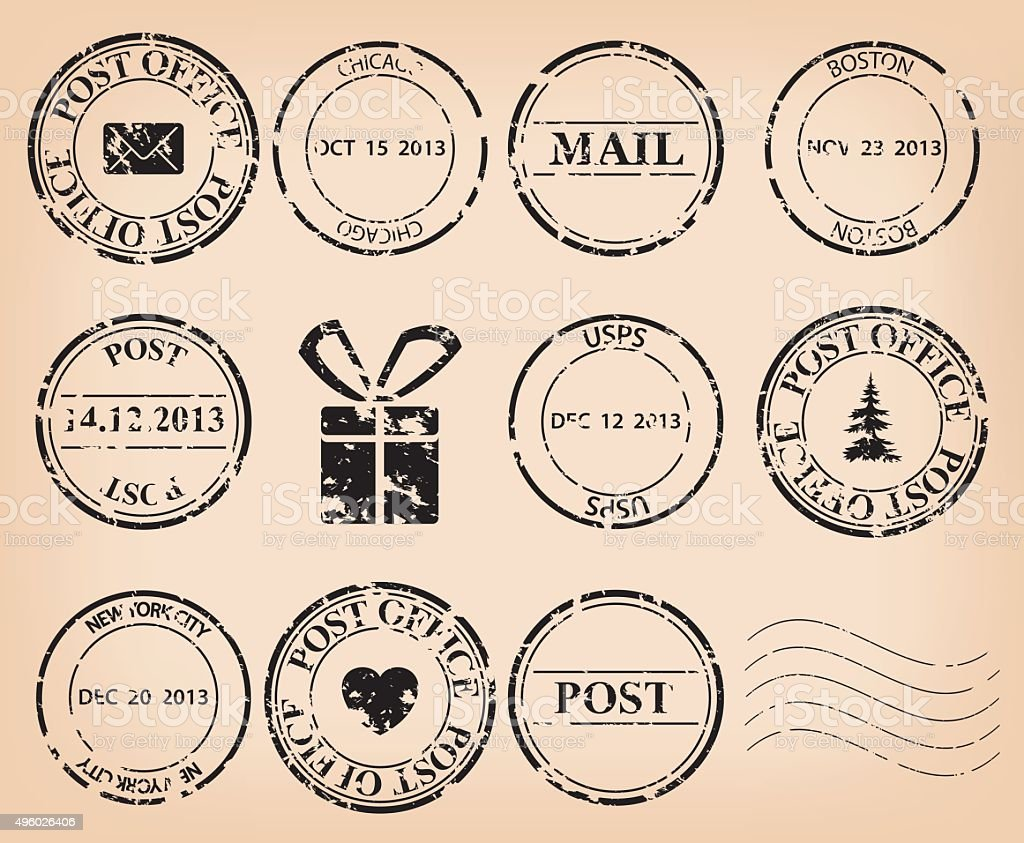 vector set - black grungy post stamps vector art illustration