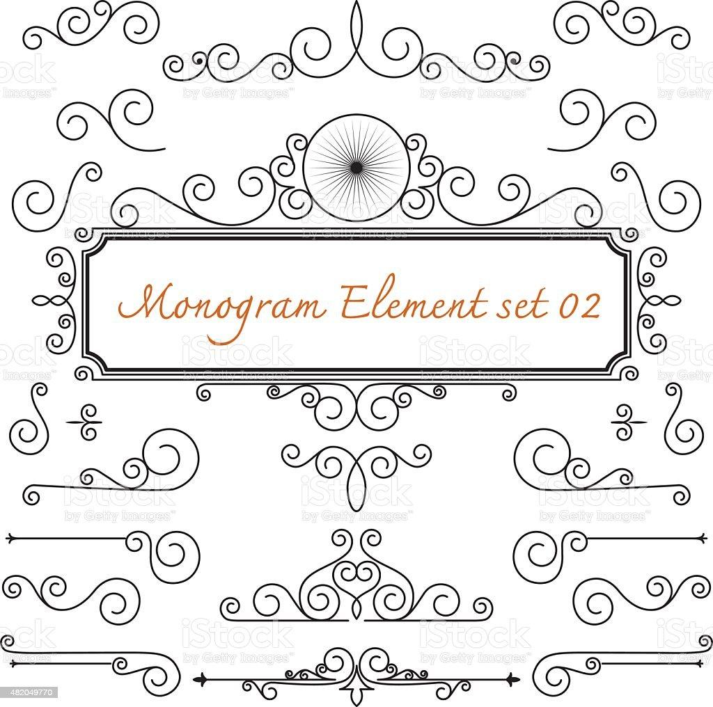 vector set. caligraphic monogram flourish swirl for design and d vector art illustration