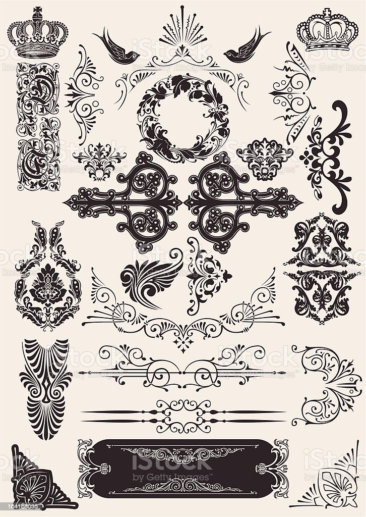 vector set: calligraphic design elements and page decoration royalty-free stock vector art
