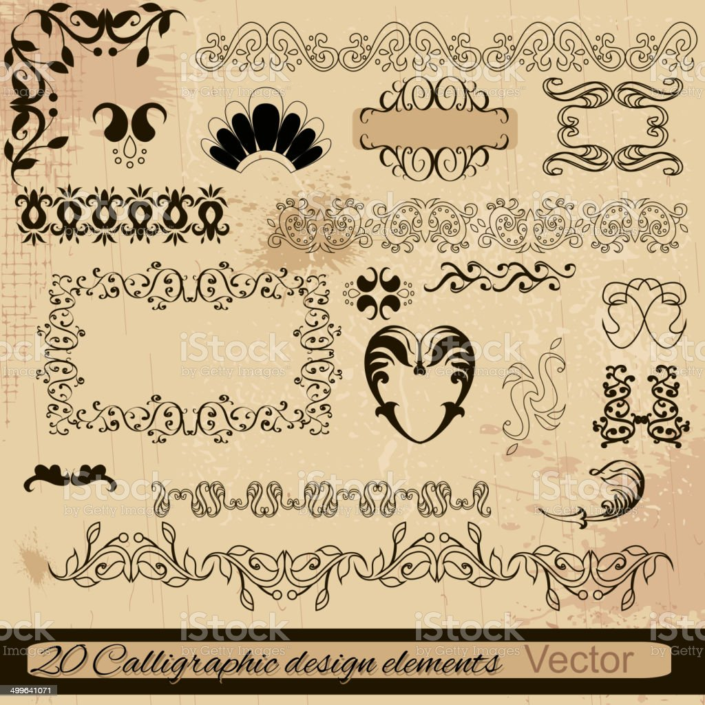 vector set: calligraphic design elements and page decoration. royalty-free stock vector art