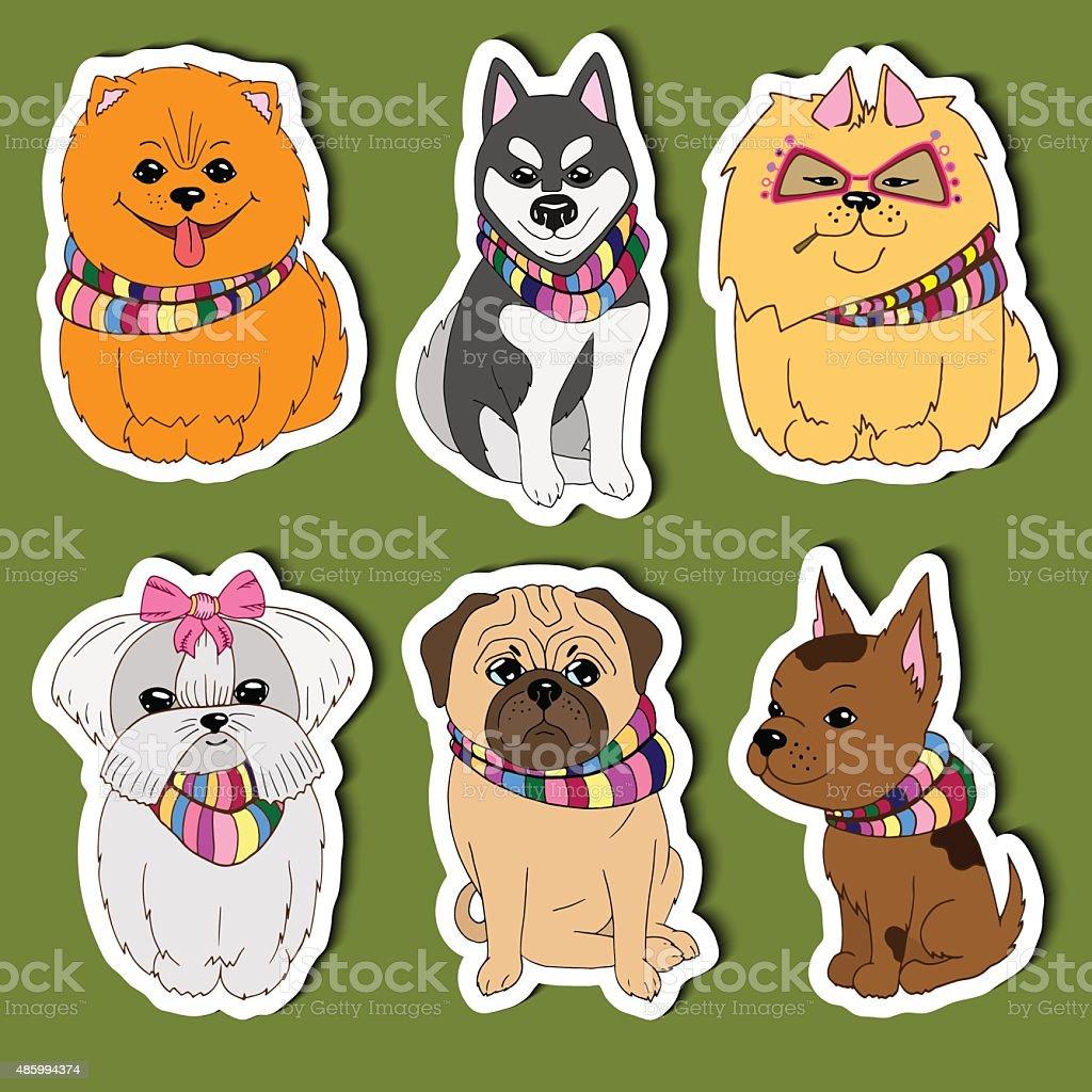 Vector set Cartoon Dogs, cute stickers for kids vector art illustration