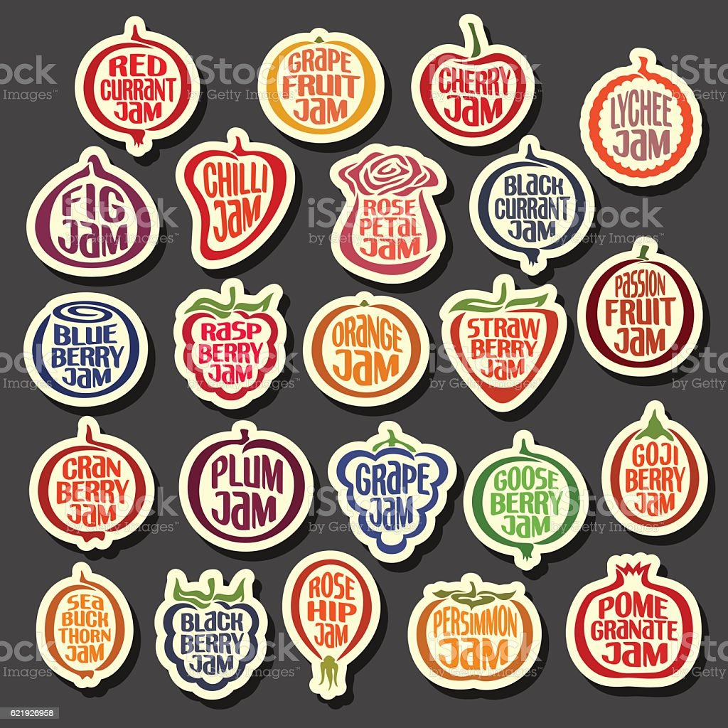 Vector Set colorful Fruits Jam icons vector art illustration