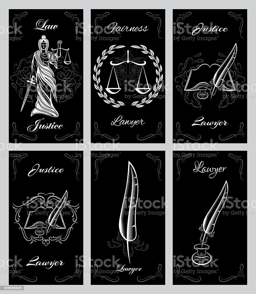 vector set design elements for lawyers business cards vector art illustration