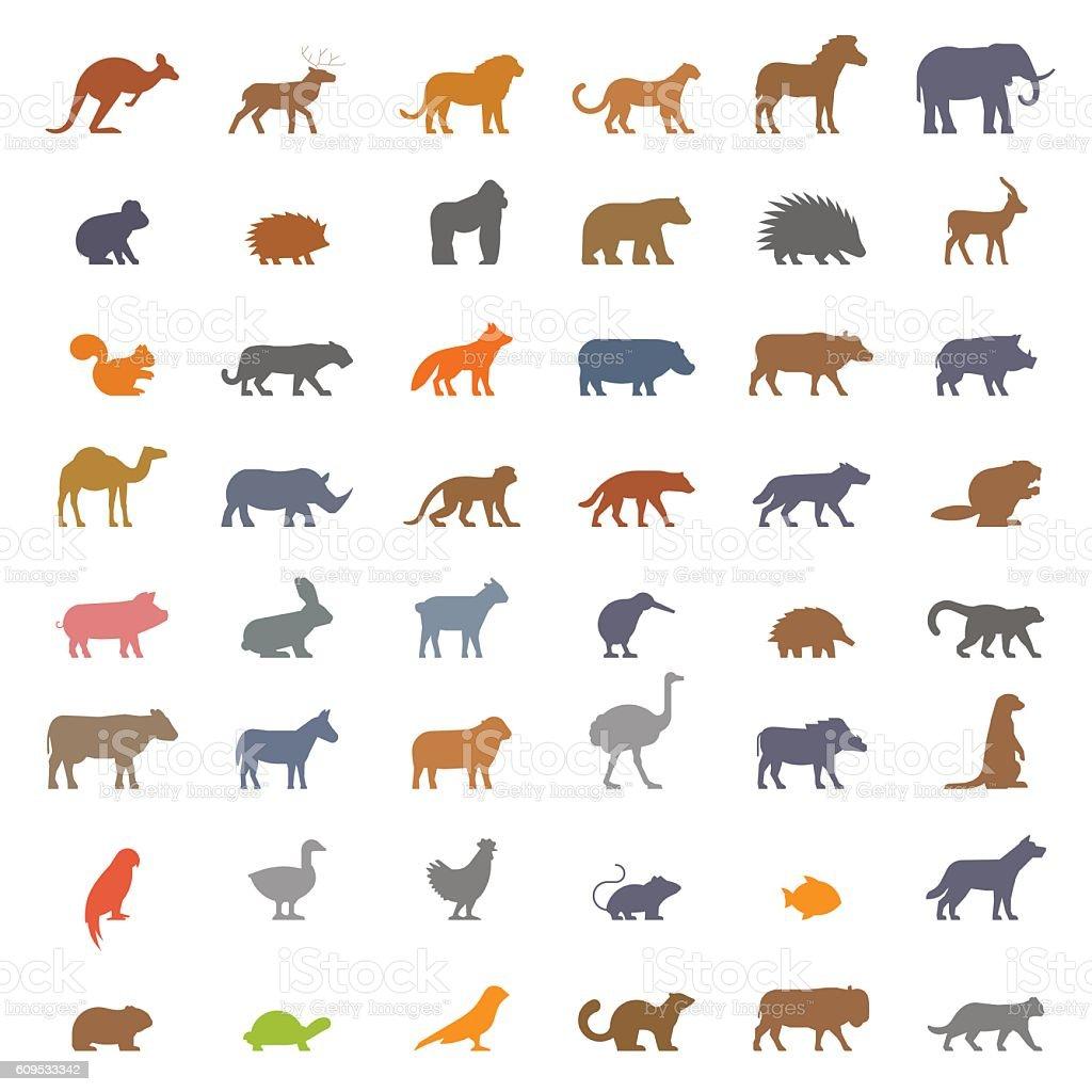 Vector set figures of farm and wild animals vector art illustration