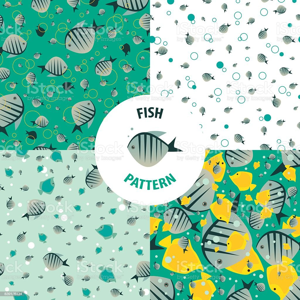 Vector set fish pattern vector art illustration