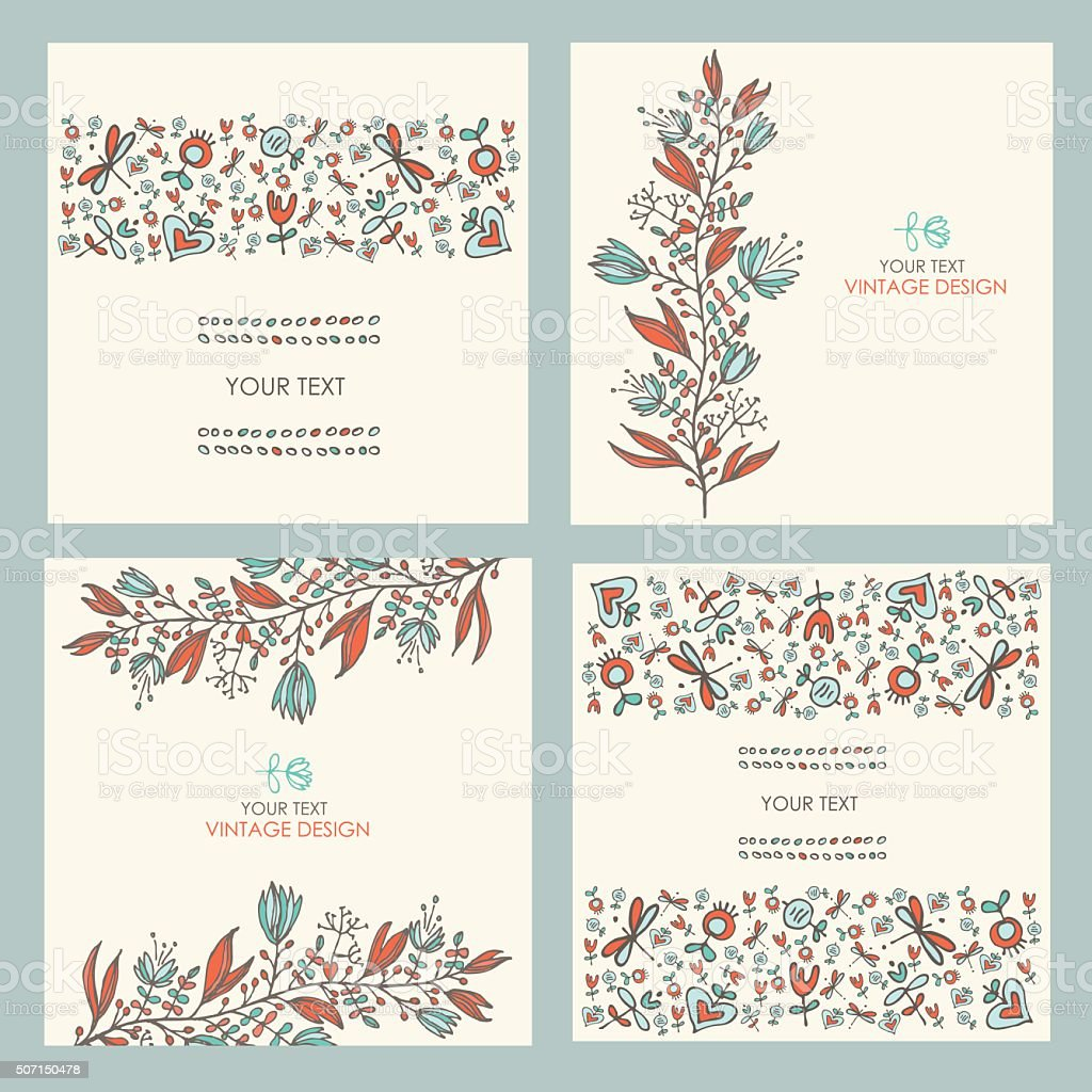 Vector set: floral seamless and floral backgrounds. hand drawn vector art illustration