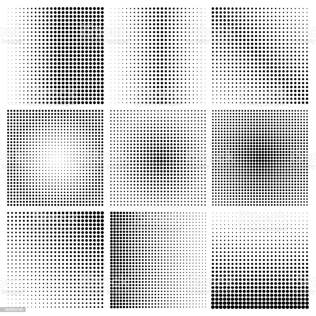 Vector set halftone effect vector art illustration