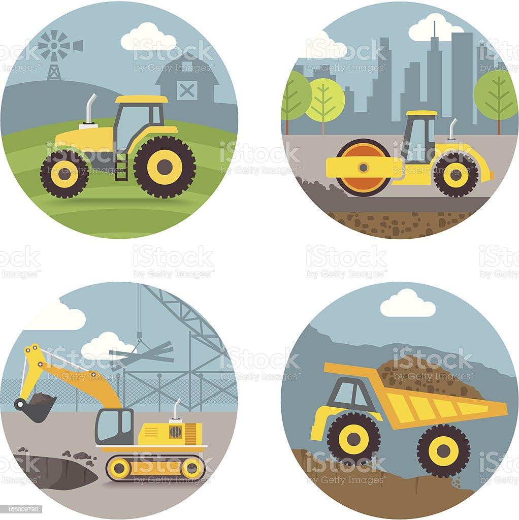 Vector Set, heavy machines scenes vector art illustration