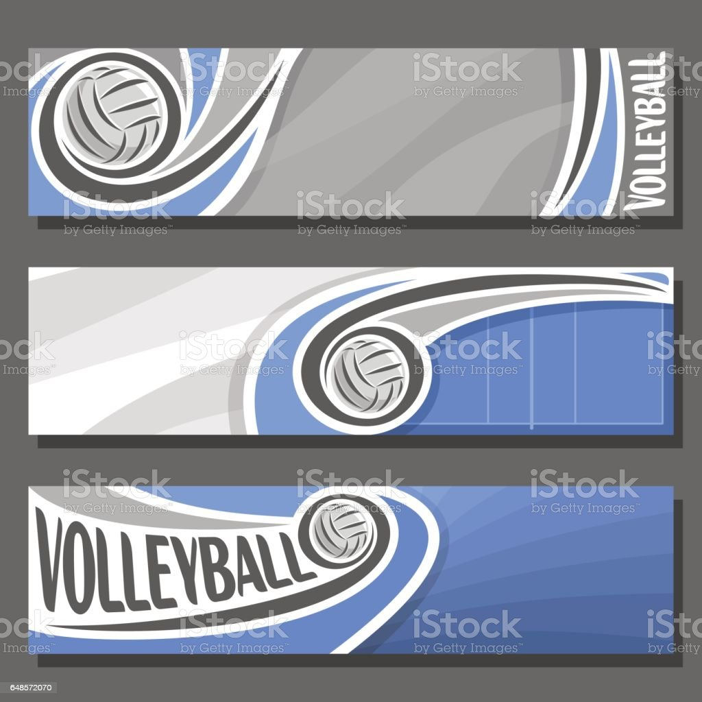Vector set horizontal Banners for Volleyball vector art illustration