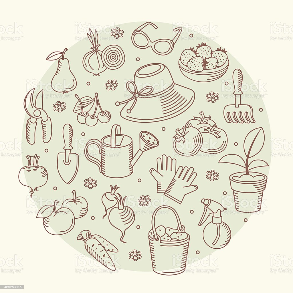 Vector set icons of garden tools. royalty-free stock vector art