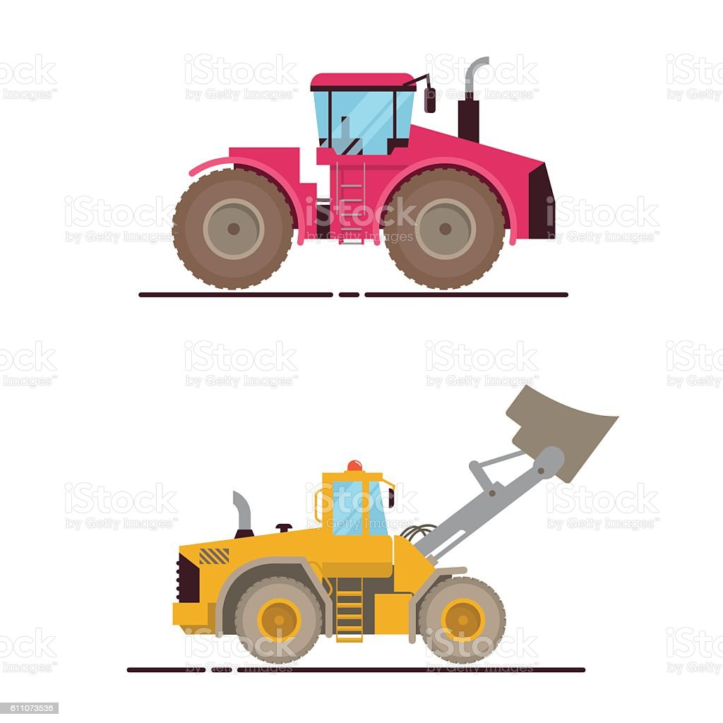 Vector Set Illustration Farm Equipment Tractor, Loader On White Background. vector art illustration