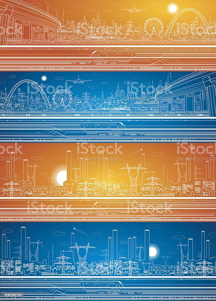 Vector set, industrial and transport panoramic vector art illustration