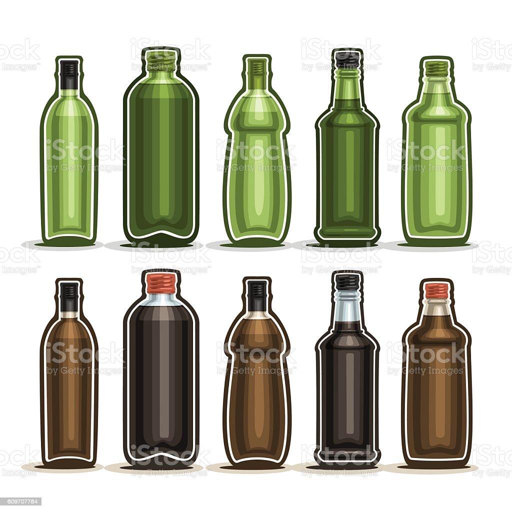 Vector Set logo Glass Bottles vector art illustration