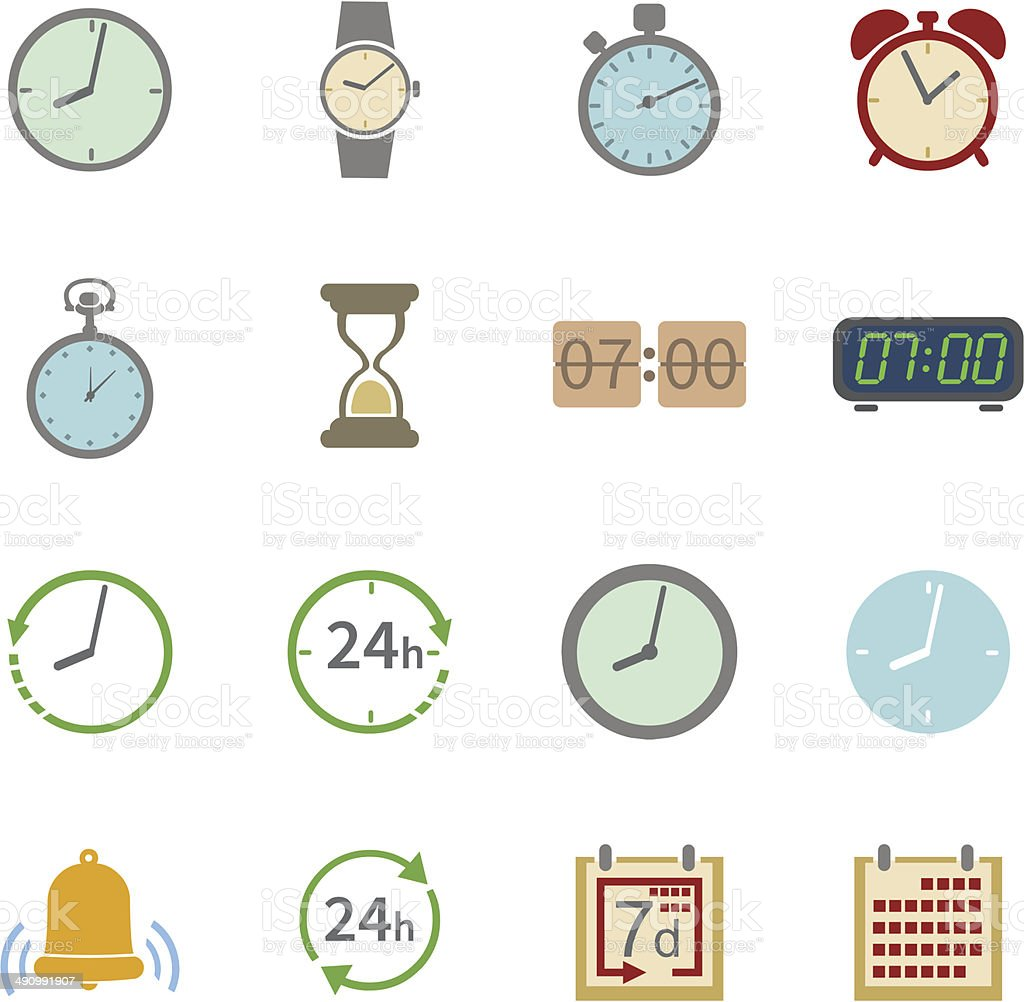 Vector Set of 16 Color Time Icons vector art illustration