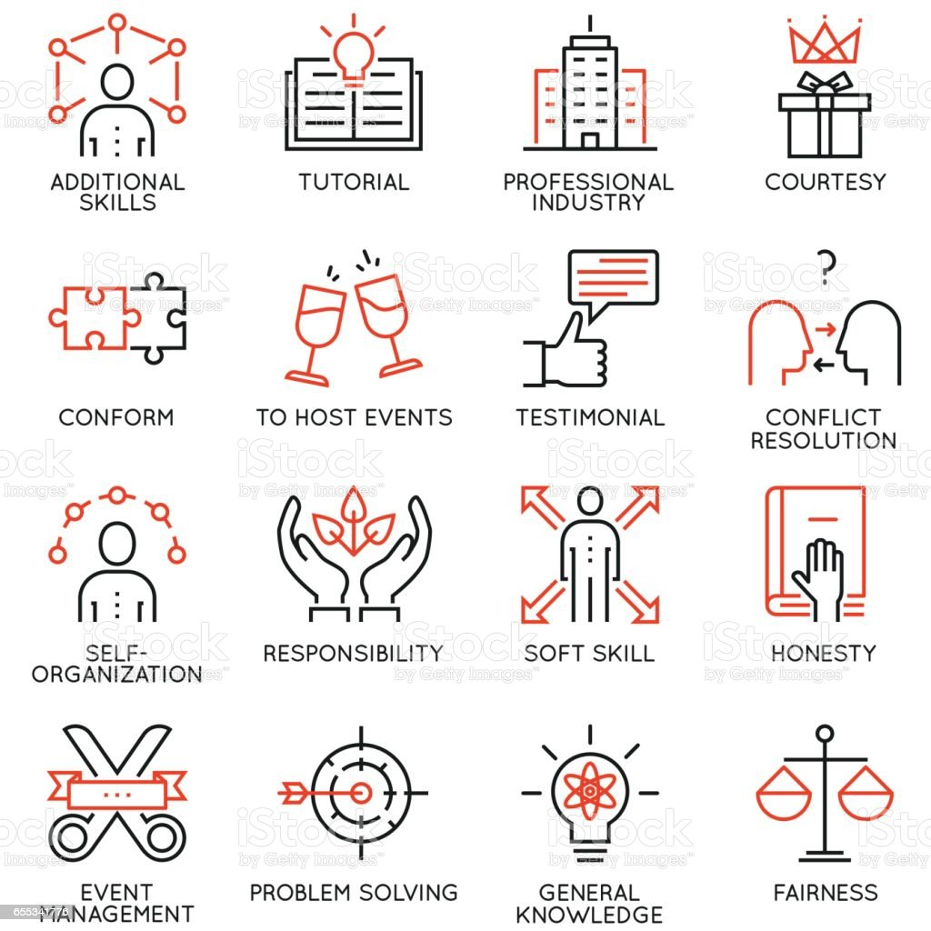 Vector set of 16 linear quality icons related to business management, strategy, career progress and business process - part 6 vector art illustration