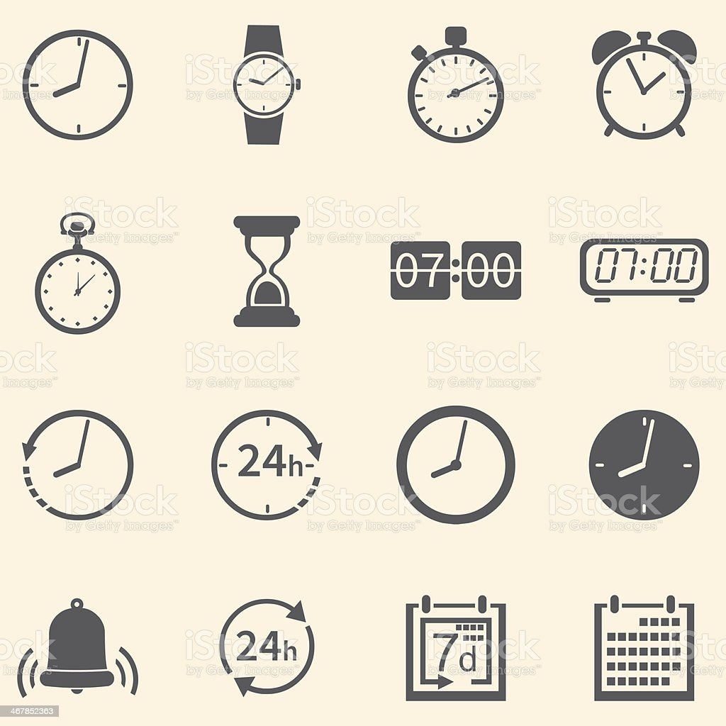 Vector Set of 16 Time Icons vector art illustration