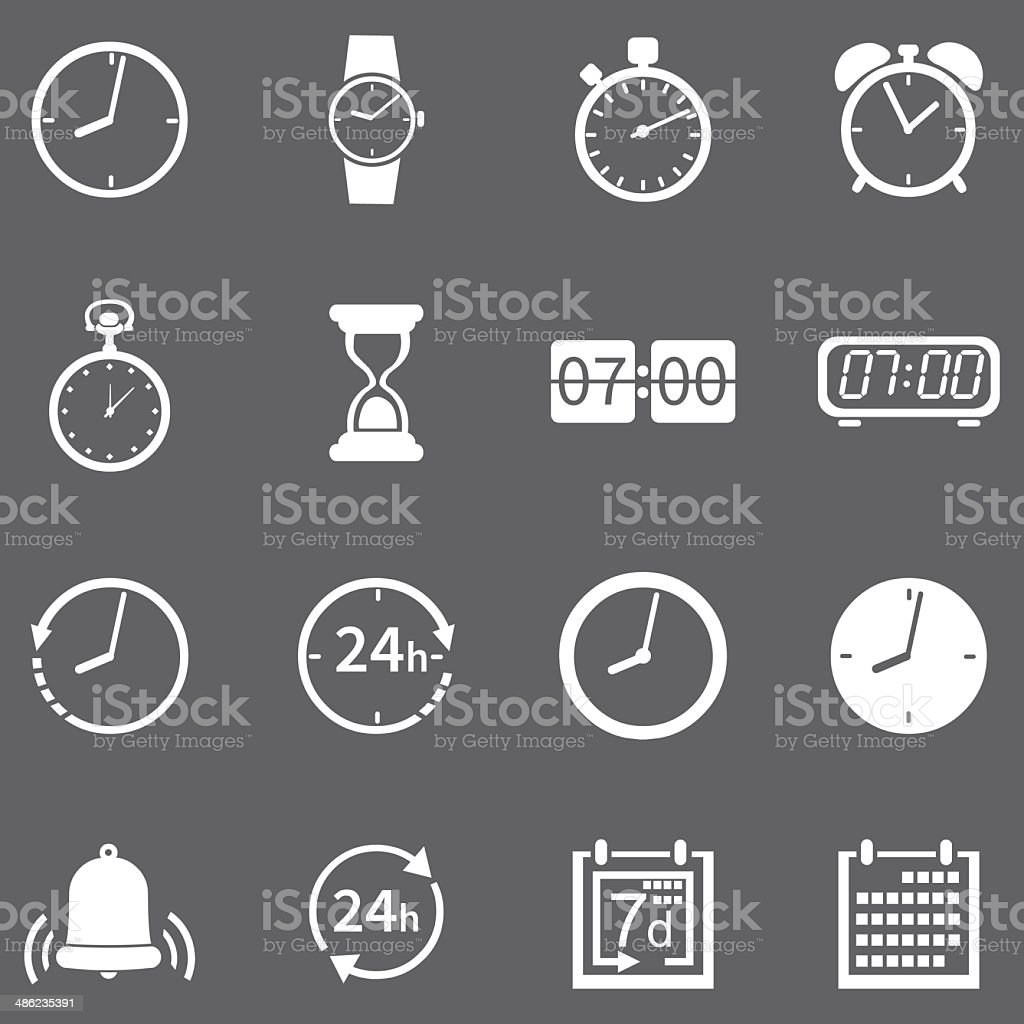 Vector Set of 16 White Time Icons vector art illustration