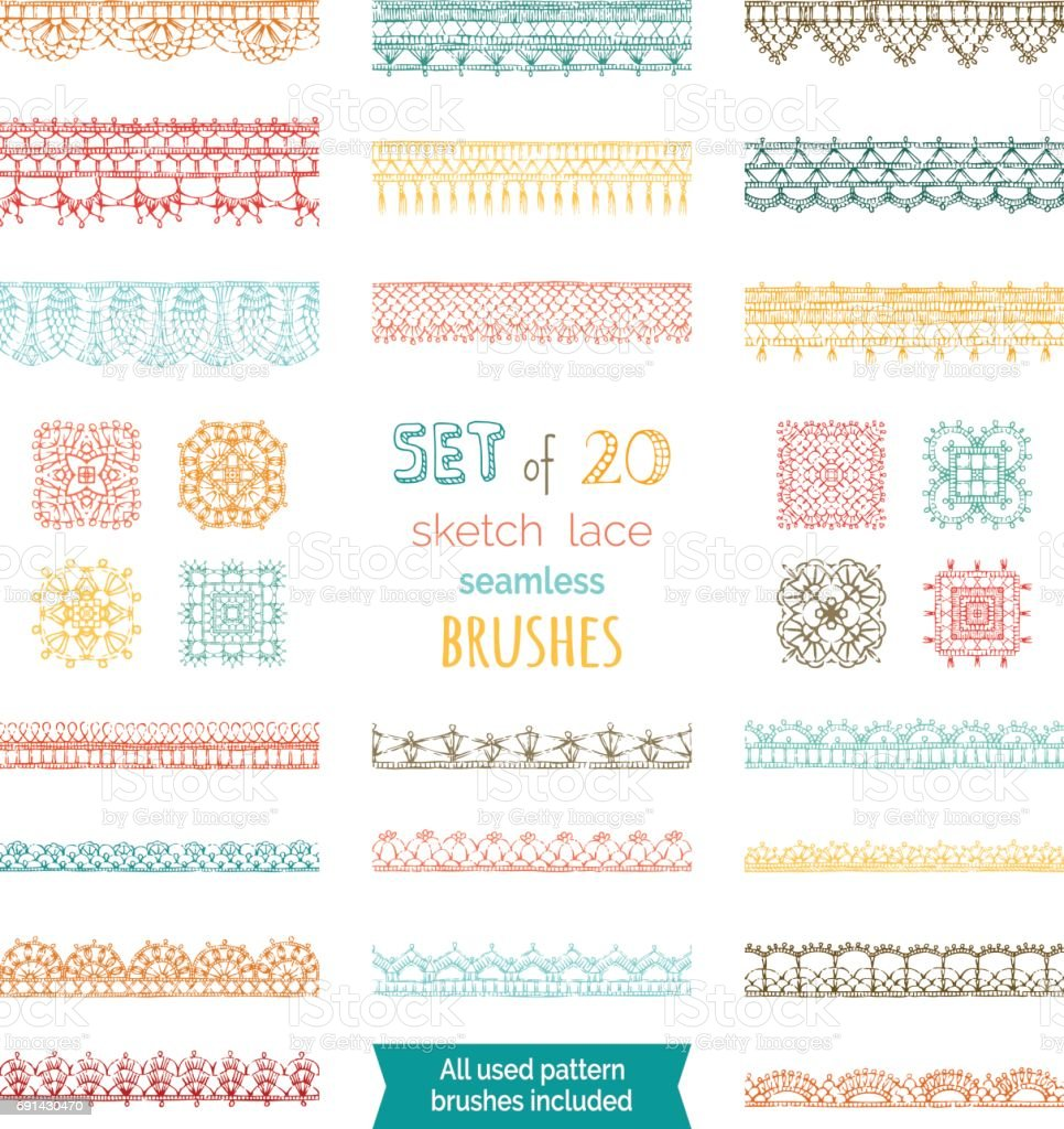 Vector set of 20 sketch lace seamless brushes. vector art illustration