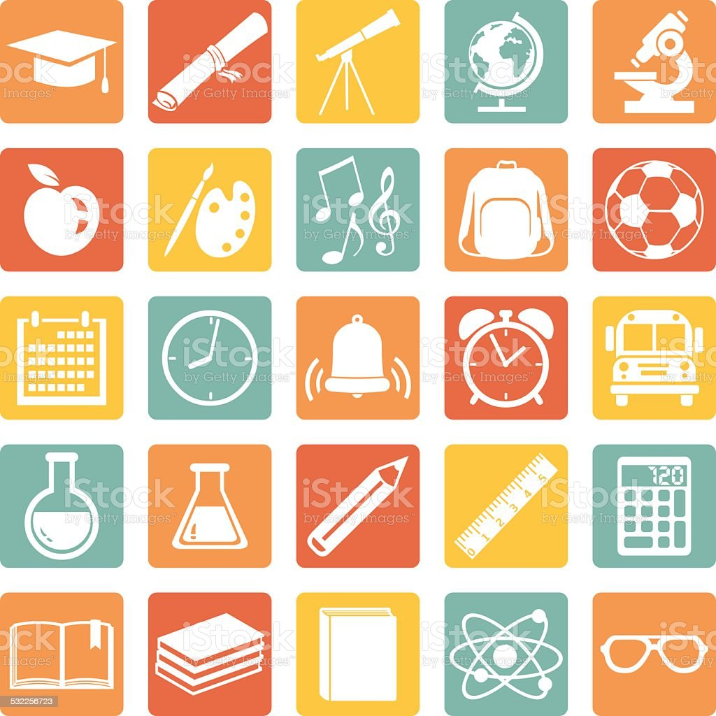 Vector Set of 25  School Icons. vector art illustration