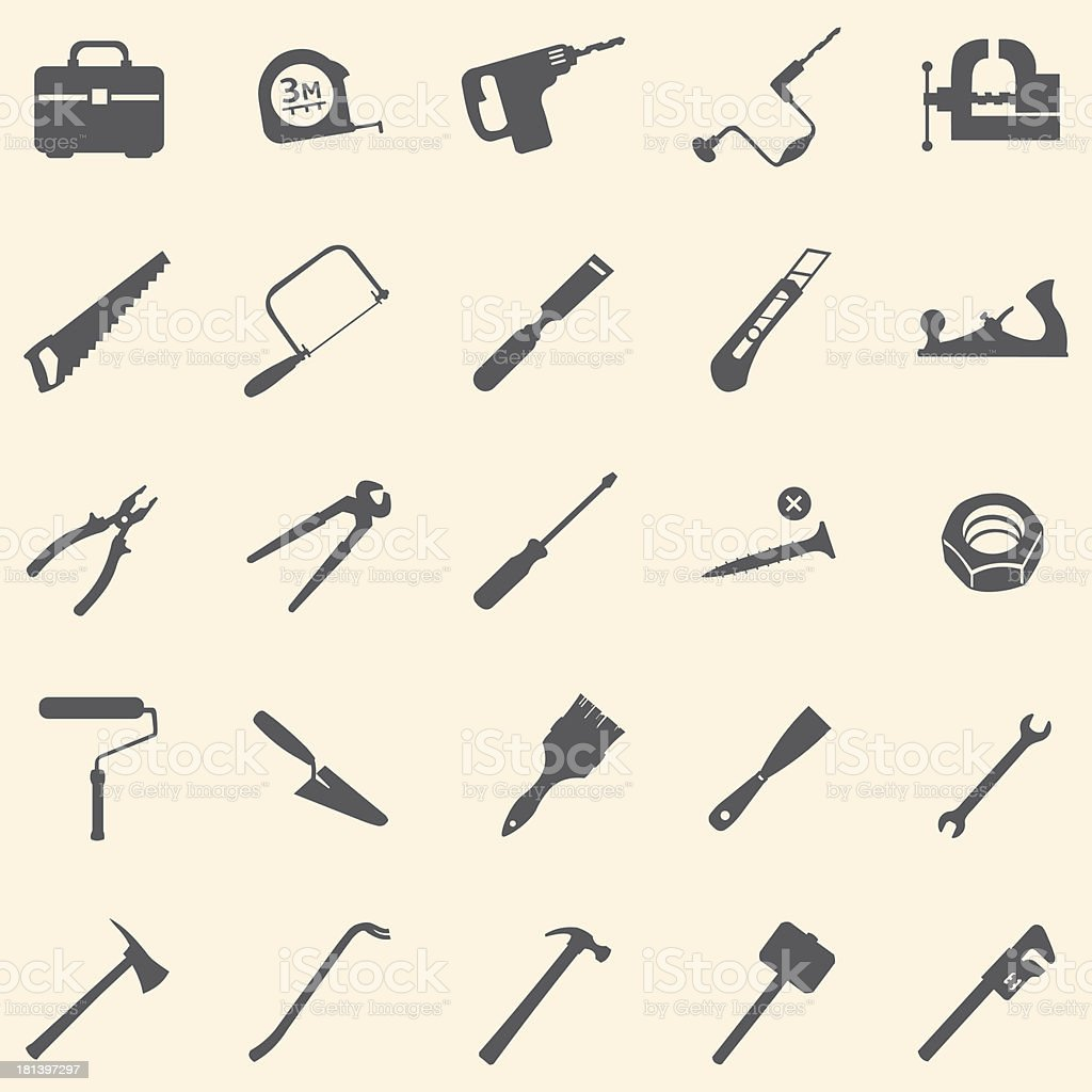 vector set of 25 tool icons vector art illustration