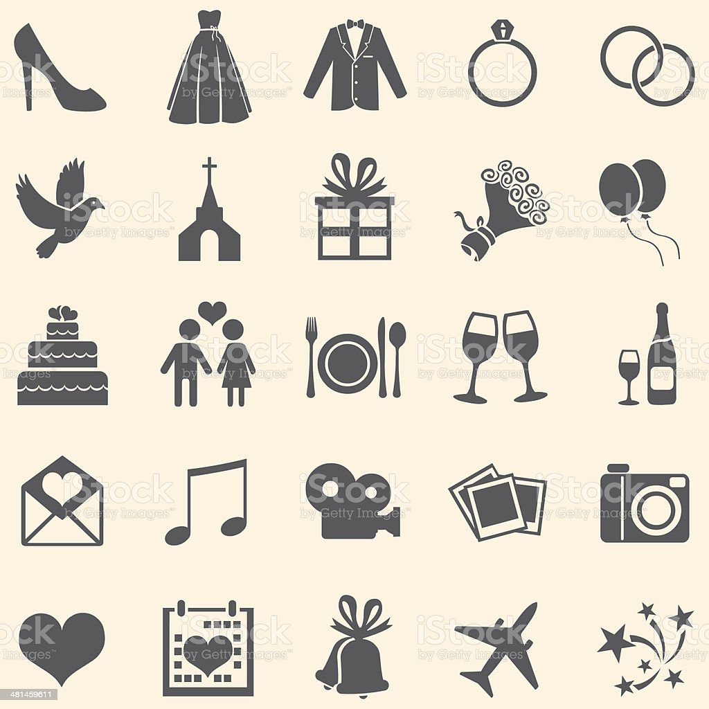 Vector Set of 25  Wedding Icons vector art illustration