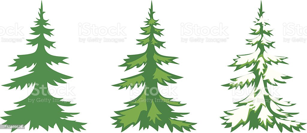 vector set of 3 fir-trees royalty-free stock vector art