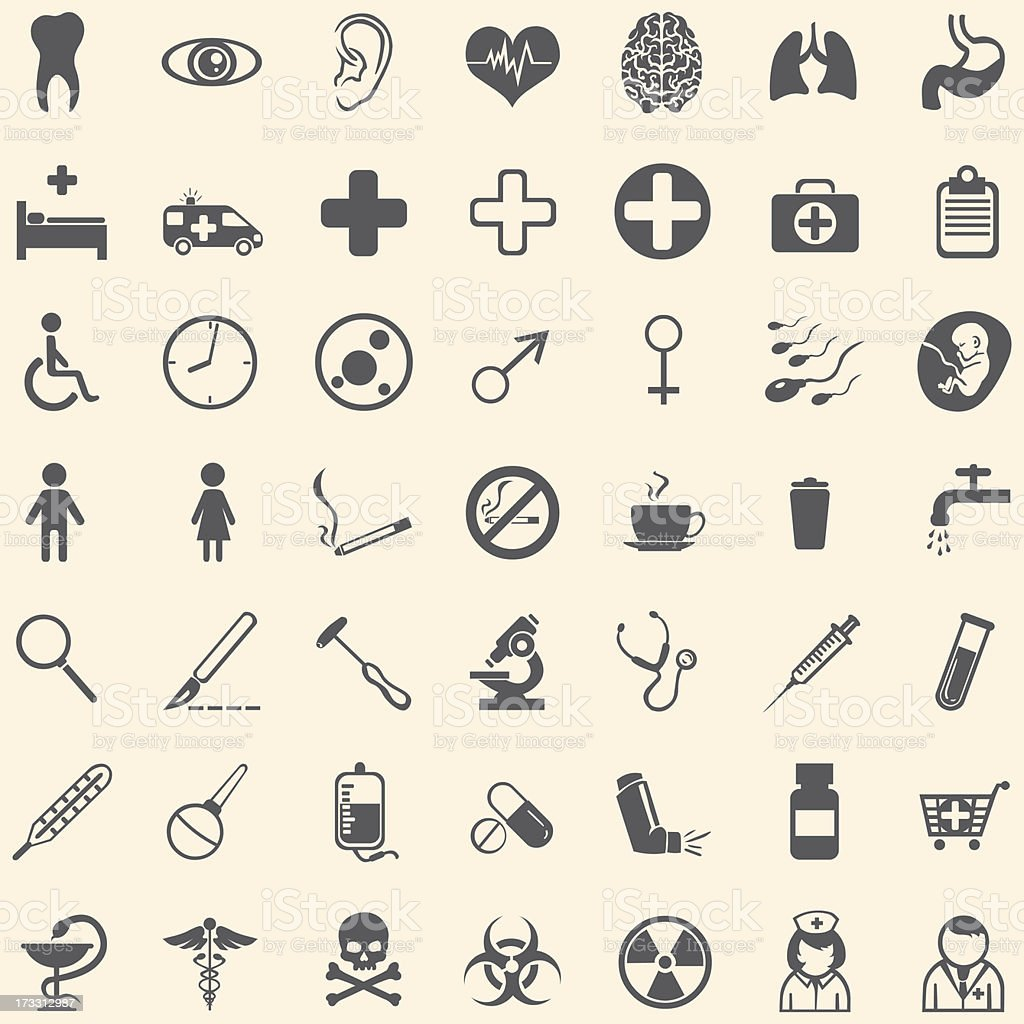Vector set of 49 medical icons vector art illustration