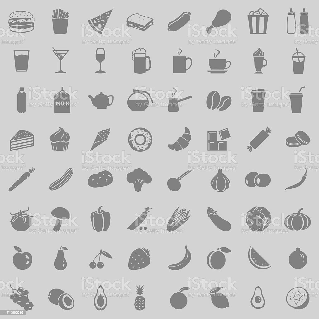 Vector Set of 64 Food Icons vector art illustration