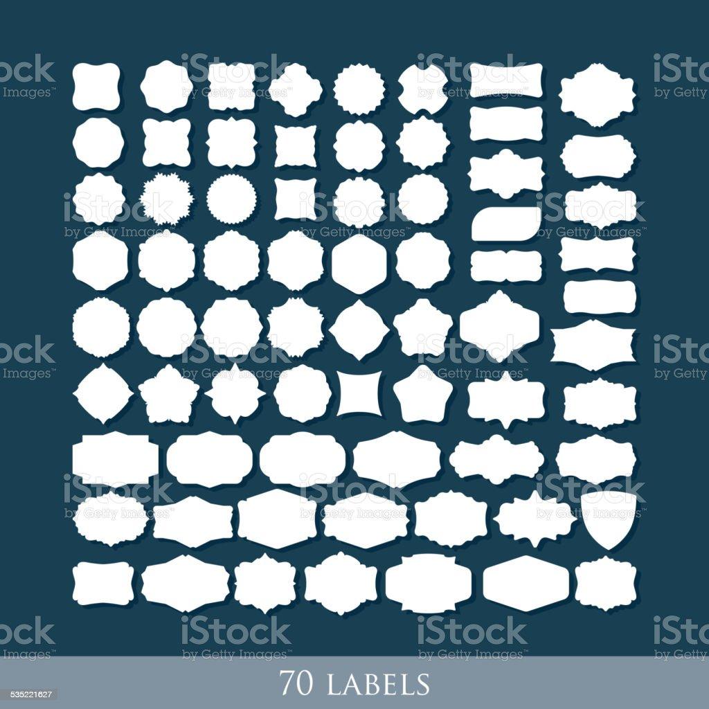 vector set of 70 retro label shapes for design vector art illustration