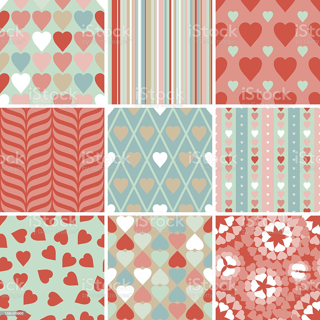 Vector set of 9 Valentine's Day heart patterns. royalty-free stock vector art
