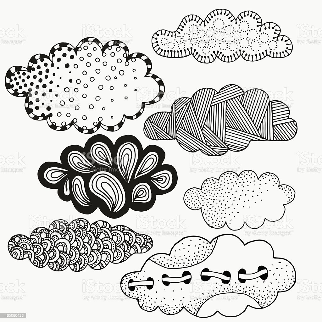 Vector set of abstract clouds. Artistically clouds. vector art illustration