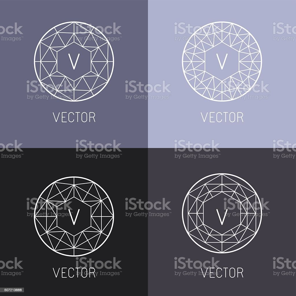 Vector set of abstract jewelry logo design templates vector art illustration