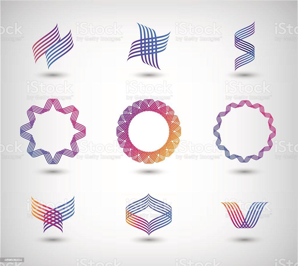 vector set of abstract line vector art illustration