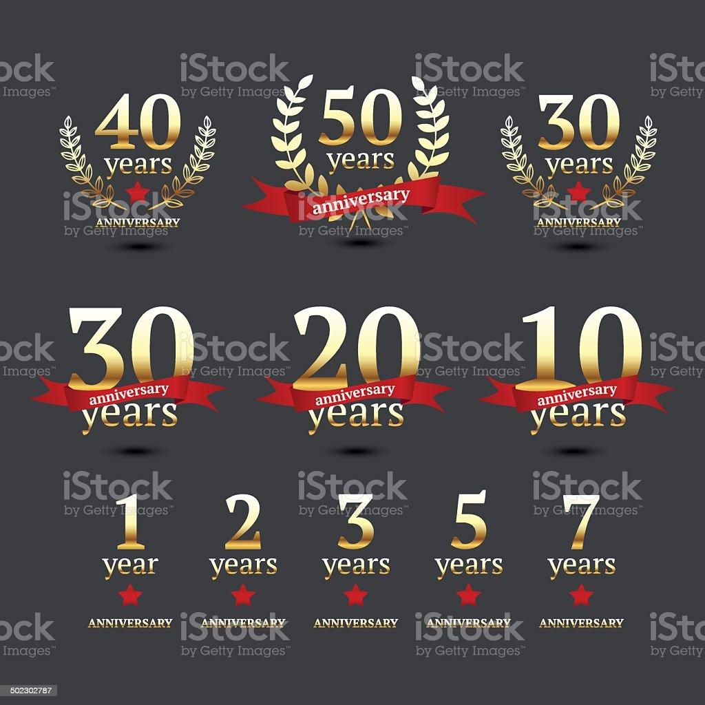 Vector set of anniversary golden signs vector art illustration