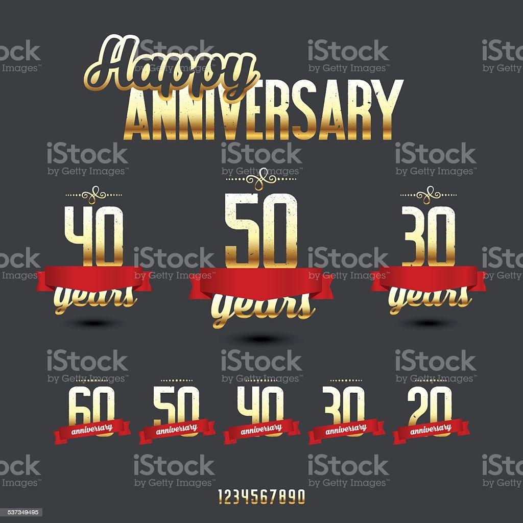 Vector set of anniversary golden signs. vector art illustration