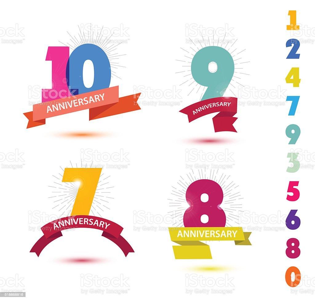 Vector set of anniversary numbers design. 10, 9, 7, 8 vector art illustration