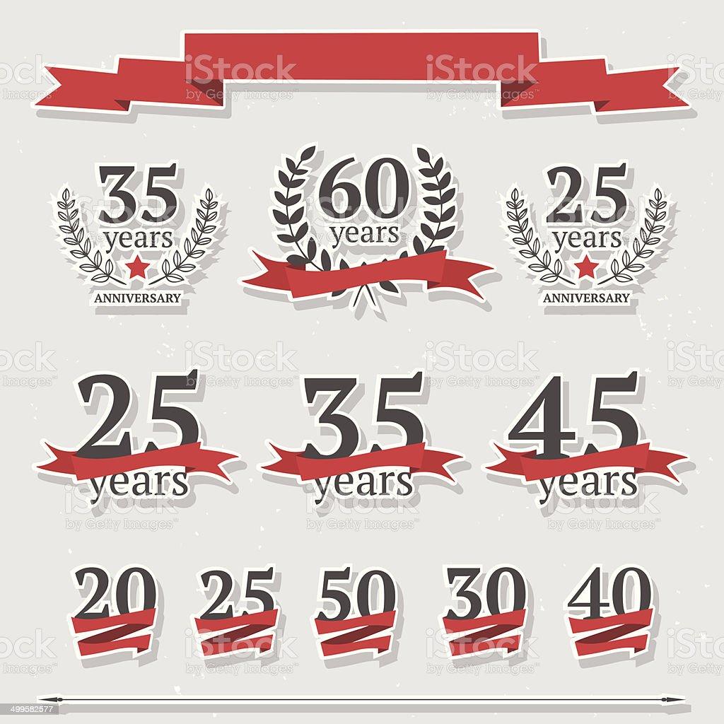 Vector set of anniversary signs vector art illustration