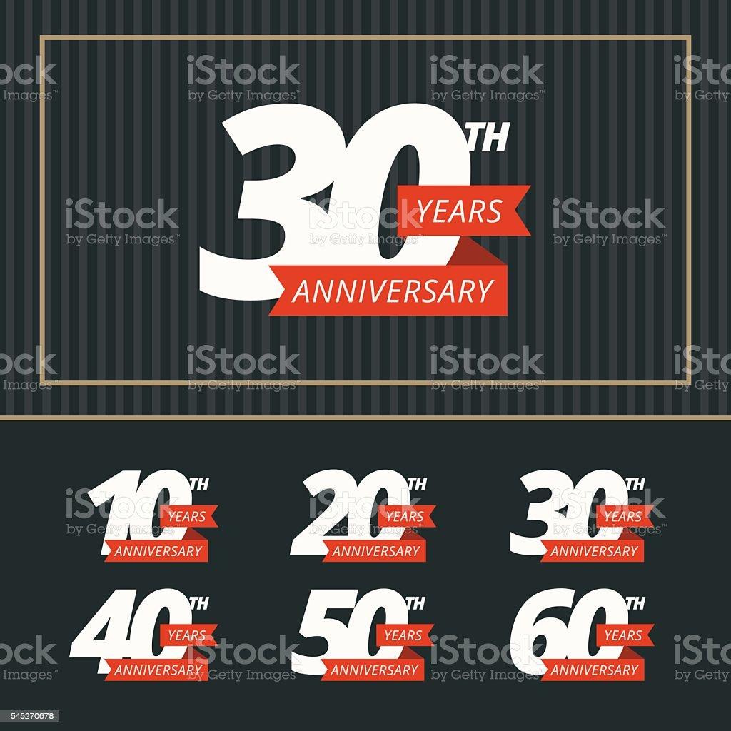 Vector set of anniversary signs. vector art illustration